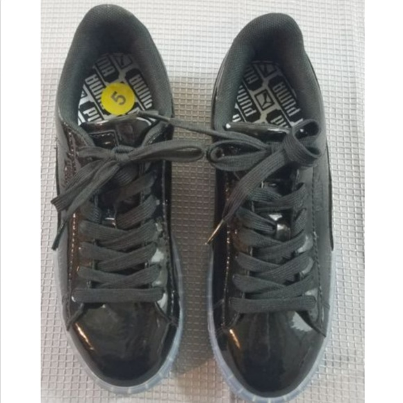detailed look c3bac f25db Puma Size 5 Patent Leather Basket Platform Shoes